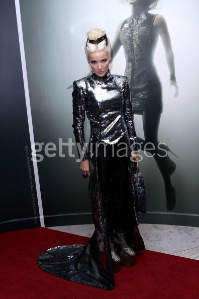Daphne Guinness wearing look 7 from my collection at tonight's opening of her F.I.T. Exhibition, paired with Noritaka Tatehana shoes. (Getty Images)