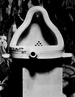 "thescreenwritersblues:  Thank you for your brilliance, Duchamp.  Marcel Duchamp's ""Fountain"" (1917) — Photographed by Stieglitz."