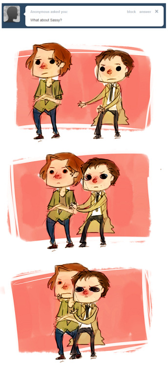 hey sam remember when cas tried to hug you