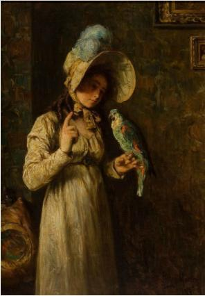 auctionguide:  Henry Mosler, American (1841-1920) Girl With Parrot 1904 Heritage Auctions, Fine and Decorative Arts, Dallas TX, Sept 27th