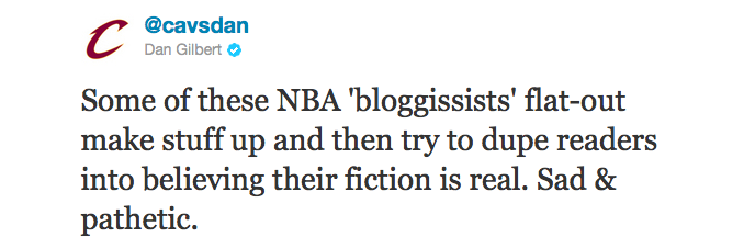 "Cavs owner Dan Gilbert hates bloggers, or, as he calls them, ""bloggissists"". What else does @cavsdan hate? Europe's tiny ice cubes.  But he's not all negativity. What does Dan Gilbert love? Kid Rock.  Gilbert may not be a musicissist, but he knows his American badasses than any Pitchfork writer ever will. Stay tuned for tomorrow's Comic Sans screed, in which new bloggissist Dan Gilbert personally guarantees that cavsdan.tumblr.com will get to a million followers before the so-called NBA-Offseason blog ever does."