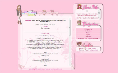 Theme Name : The Girl Who Likes Simple & Pink Theme Preview : http://ladypixiethemepreview.tumblr.com Codes : http://pastebin.com/aue85TP1