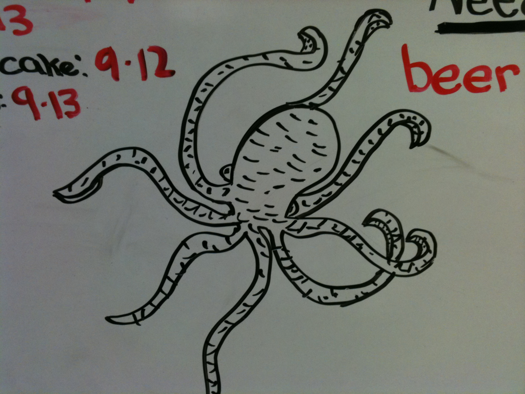 This guy protects our whiteboard. I really need to put him on a canvas soon.