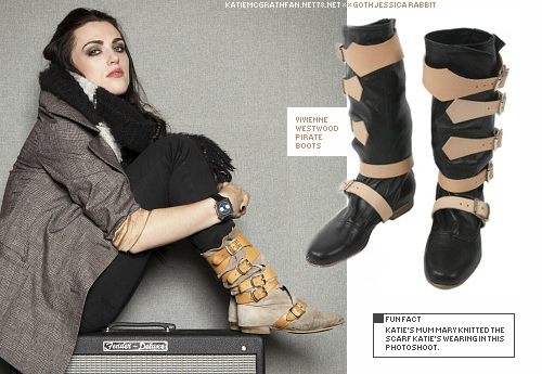 In the photoshoot Katie did in 2010 for Sunday Express, Katie wore her own Vivienne Westwood pirate boots.Purchase:Shoes: 1 | 2