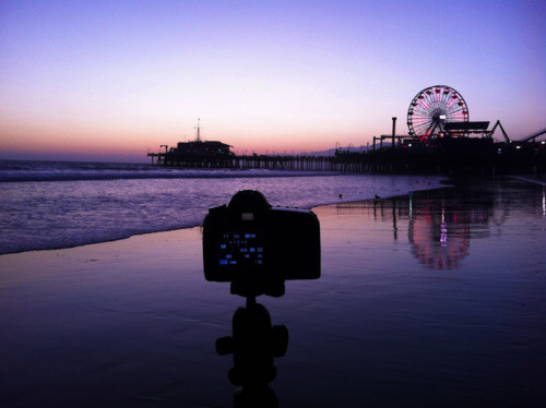 Santa Monica Pier:   Setting up my shot with my 5DMKII :)