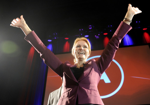 europeanvoice:  SUCCESS Helle Thorning-Schmidt, leader of the Social Democrats, celebrates after the Danish election. Her party and its centre-left allies emerged victorious from the election, ending ten years of Liberal-Conservative rule and producing the country's first female prime minister.