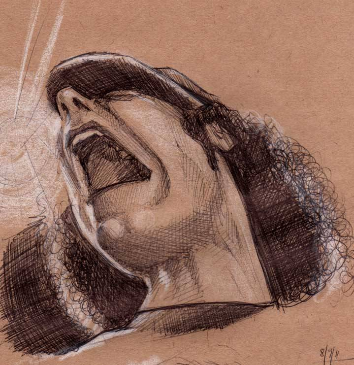 Singer, ball point pen sketch on brown paper. I think it may have been off an AC/DC gig on mtv