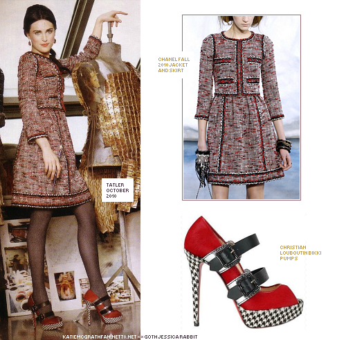 In Tatler's October issue 2010, Katie modeled a jacket and skirt from Chanel Fall 2010 collection, paired with Christian Louboutin Bikki pumps.Purchase:Shoes: 1 | 2Skirt and jacket not available to purchase online.