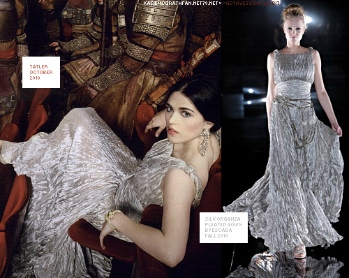 In Tatler's October issue 2010, Katie modeled silk organza pleated gown by Escada.Purchase:Dress not available to purchase online.
