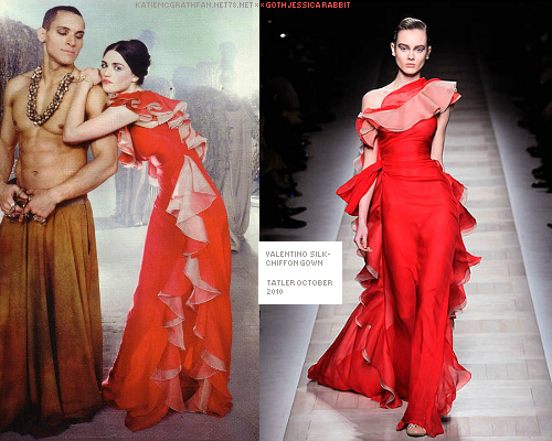 In Tatler's October issue 2010, Katie wore a silk-chiffon gown by Valentino from their fall 2010 collection.Purchase:Dress not available online.