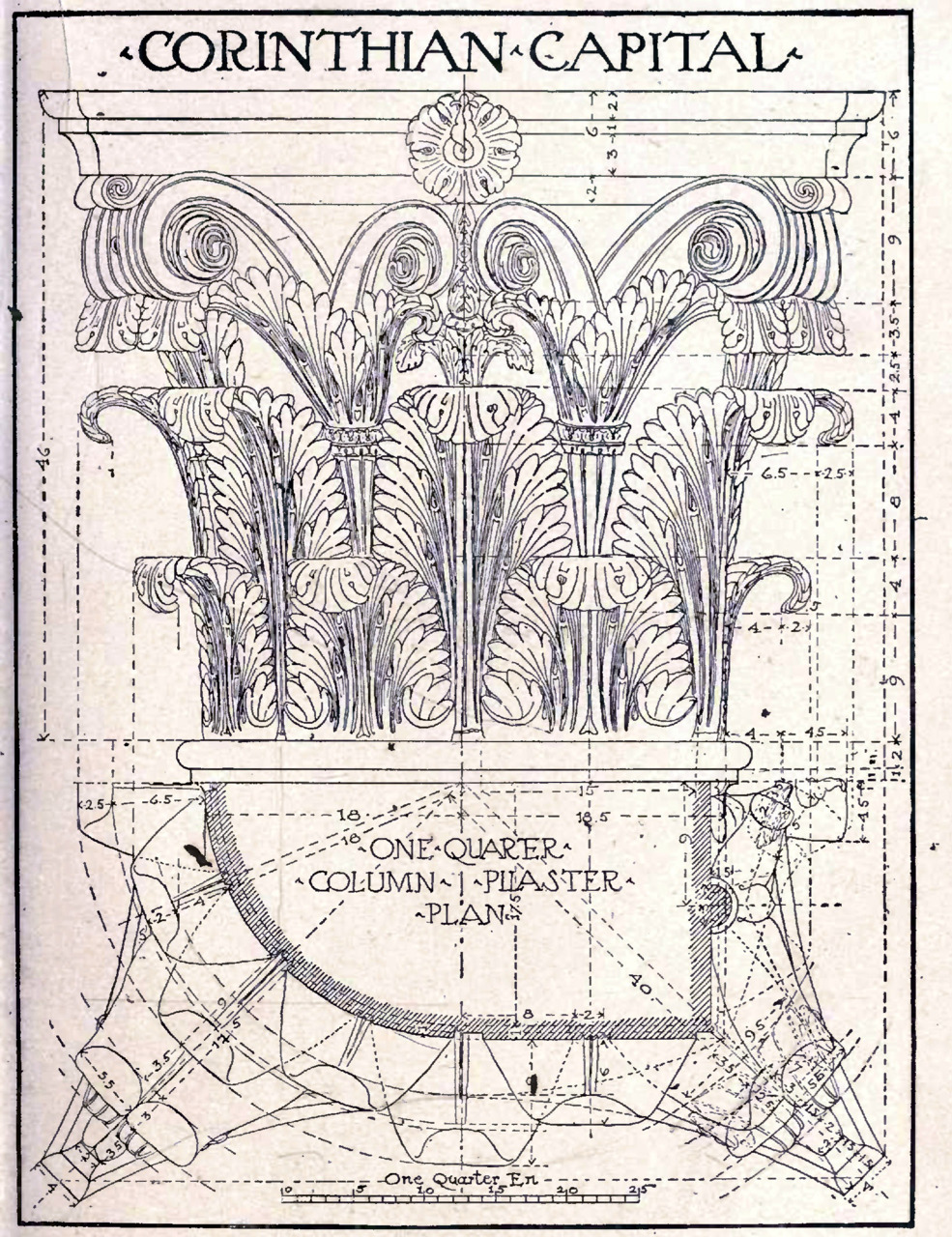 Detailed construction drawing of a corinthian capital