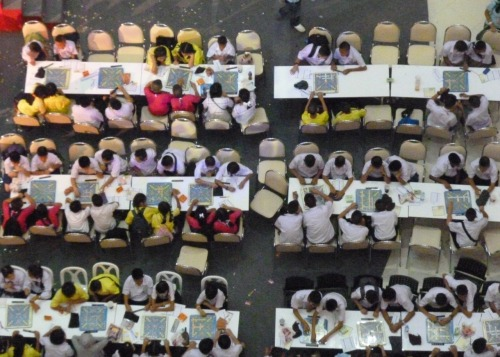 "This photo combines three things Thai students love: Scrabble (or as they say ""Teachah Crossword!!""), competition and malls."