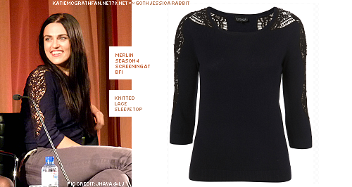 At the Merlin screening at BFI 2011, Katie wore a lace sleeve top from Topshop.Purchase:This top is unfortunately not available online.