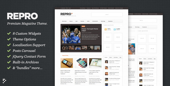 Repro is the Premium WordPress News / Magazine theme. Jam packed with custom options, custom widgets and a dollop of good looks. Repro is suitable for content producers at all levels, personal bloggers, newspapers, online magazines, community blogs… you get the idea. Repro looks great out of the box but also acts as the perfect black canvas for those looking to customise and develop their own content-focused site. (via WordPress - Repro - Premium WordPress News / Magazine Theme - ThemeForest)