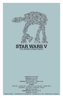 "This listing is for an 11""x17"" fine art print inspired by the final Star Wars movie, The Empire Strikes Back. This is the second of a three part poster series for the original trilogy of Star Wars movies. These fine art prints are modern, minimalist interpretations of the famous movies and incorporate elements of modern information technology."