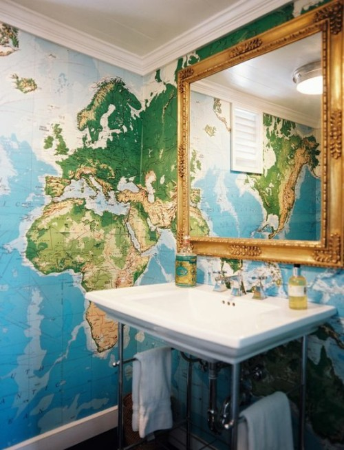 Ever since I was a fat little girl, I always wanted a wall made of maps. This is my future bathroom.