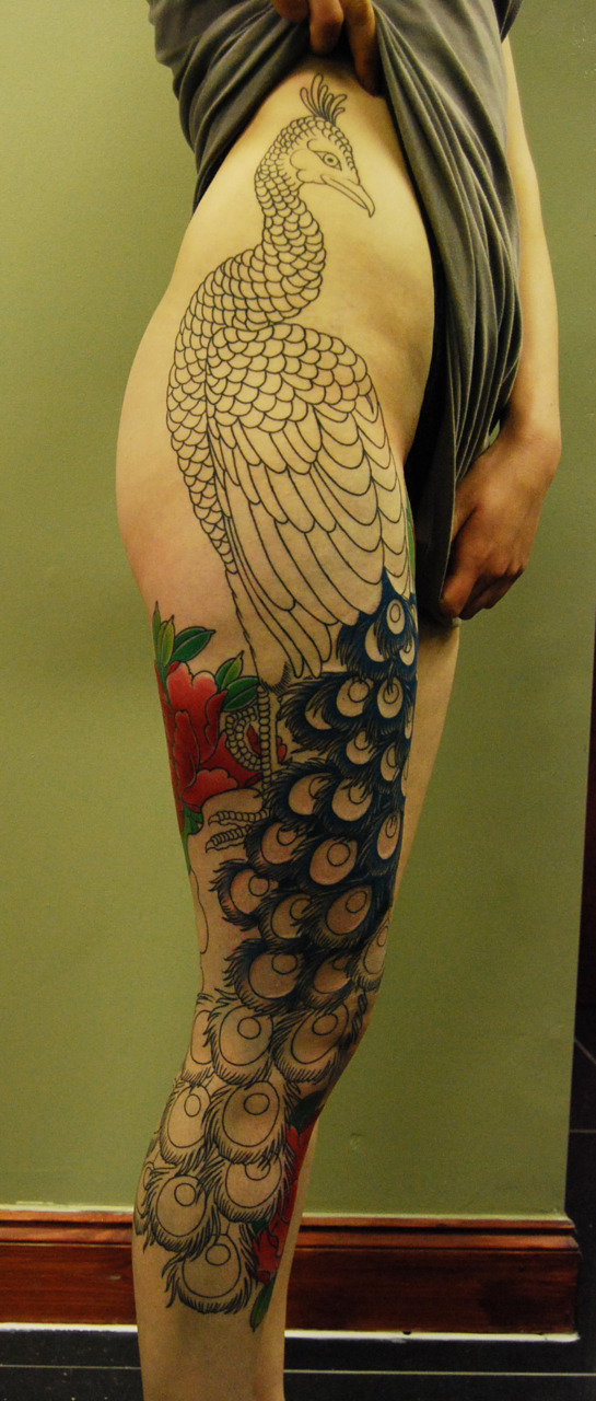 This is just beautiful! I love Peacocks.  blackgardentattoo:  In progress by Rodrigo Souto