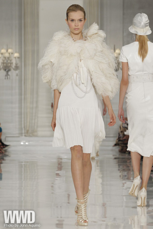 womensweardaily:Ralph Lauren RTW Spring 2012Though these day looks charmed, in this lineup, evening (and the accessories) stole the show. One wondered if Lauren was inspired by the wedding gowns he made this summer for daughter Dylan and daughter-in-law Lauren. He also may have recalled his glorious all-white collection of 10 years ago, which he designed before, but showed after, 9/11, its gentility somehow so right for the moment. Either way or neither, the mostly white and silver gowns — Jean Harlow satins, floral metallics, crystal encrustations — dazzled.
