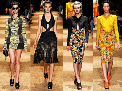 Proenza Schouler Spring RTW 2012 NYC Fashion Week Photographer: Marcio Madiera/firstVIEW (via Vogue) Models: Ruby Aldridge, Erjona Ala, Kori Richardson, Liu Wen   Besides Prabal Gurung's (awesome) moody purple digital print RTW Spring 2012 collection, Proenza Schouler (designed by Jack McCollough and Lazaro Hernandez) is my next favorite designer collection for NYC's Fashion Week. These four are my favorite looks.