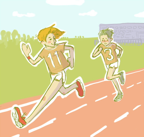 "colors-and-impulse:  Lania suggested ""Bart and Tim at a running day in school"" - that's the sketchy outcome! Tim: Bart! Slower!Bart: What? I already run slow as a turtle!Tim: No, you're lapping me the third time!"