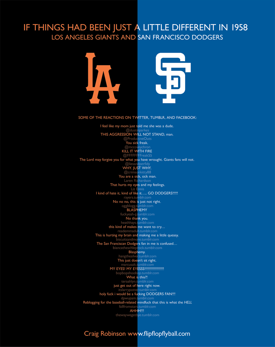 A couple of days ago, I altered the Giants and Dodgers cap logos, wondering what might've been had the New York Giants gone to Los Angeles, and the Brooklyn Dodgers gone to San Francisco in 1958. Frivolous fun. Not for Giants and Dodgers fans, it would seem. Here are some of the reactions culled from Twitter, Tumblr, and Facebook. http://www.flipflopflyin.com/flipflopflyball/info-lagsfd.html