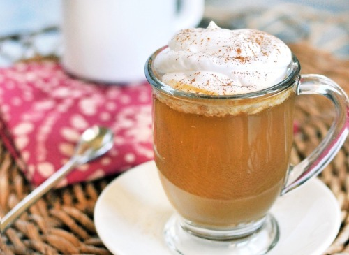 under400:  Pumpkin Spice Latte recipe  ingredients: 2 cups unsweetened almond milk 2/3 cup water 1/3 cup pumpkin puree 3 1/2 tablespoons sweetener (you can use real sugar, but add 82 Calories per serving) 4 teaspoons espresso powder 2 teaspoons pumpkin pie spice 1 teaspoon vanilla extract In a small saucepan, whisk together all ingredients and simmer over medium heat, stirring occasionally for 10 minutes. Serve and enjoy! Top with two tablespoons whipped cream for an additional 15-20 Calories. Makes two servings, 53 Calories each (or one large serving for 106) Fat 3.2g / Carb 5g (fiber 2.7g, sugar 1.3g) / Protein 1.7g Reposting now, with credit!