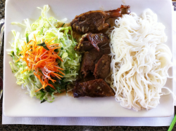 duck with rice noodles at mangosteen in downtown san francisco