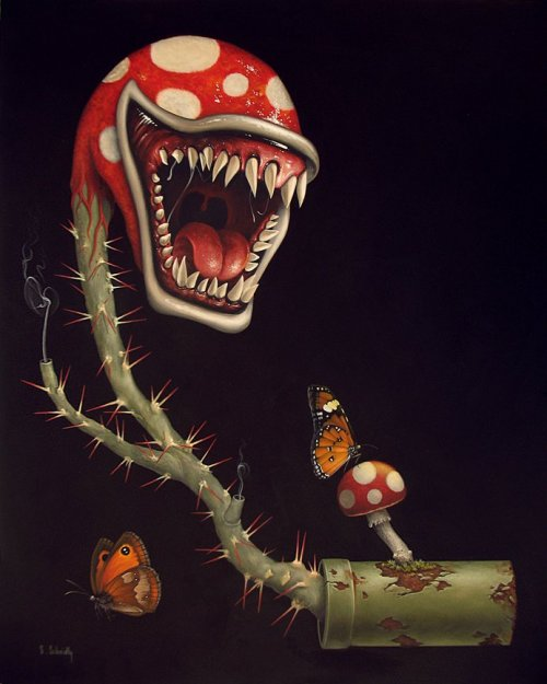 Piranha Plant - by Scott Scheidly acrylic on masonite16 x 20 inches One of the pieces being shown at the Old School Video Game Art Show in Los Angeles tonight. Original art available for $1,000 USD at Gallery 1988.