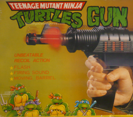 "Nothing says ""Turtle Power"" like filleting your enemies with 200 rounds of searing metal death. The fact that the gun isn't turtle colored or green or branded in any way, indicates that this is a gun designed for shooting teenage mutant ninja turtles. Now look at the turtles at the bottom of the box. Specifically, look at the expression on the face of Leonardo, on the far right. ""Billy? Why are you pointing that at us? Billy? We can talk about this…"""