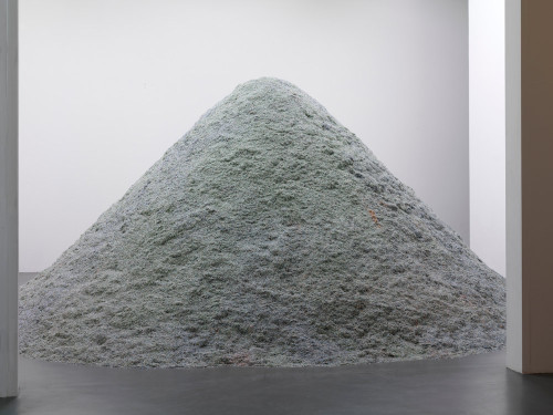 VVORK:  »Shredded money«, 2008 by Christodoulos Panayiotou.  The dune-like installation (5 meter hight and 7 meters diameter)  consists of shredded bank notes. Following an agreement with the Central  Bank of Cyprus, shredded Cypriot pounds were collected in January 2008  when the country entered the Eurozone. The work which represents the  whole wealth of the Island at this transitional moment comments on the  charged historical moment and the specific symbolic value of the cypriot  currency.
