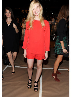 teenvogue:  Elle Fanning was in vibrant red front row at the Marc Jacobs S/S 2012 show. Check out more stars, artists and bloggers who had the hot seats at NYFW »