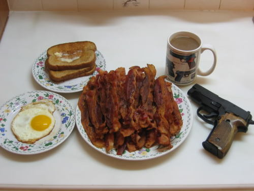 In America, we use guns instead of knives and forks.