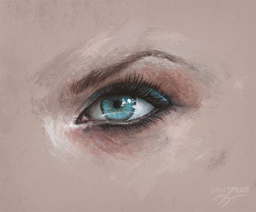 "samspratt:  ""Female Eye Study"" - by Sam Spratt Just a bit of practice painting. Connect with my: portfolio website,  tumblr,  facebook artist's page and twitter."
