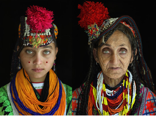 "thatbohemiangirl:  My Bohemian World  Beautiful women of Kalash, ""who legend says are part-fairy and part-human because of their ethereal  beauty. Local people say the Kalash woman can make a man lose his  religion. As the story goes, when a Kalash woman drinks water, you can  see it streaming down her throat. Yet they are considered impure in  their own community; they are also called 'whiter than the white.'"" Sources: article here and photo here."