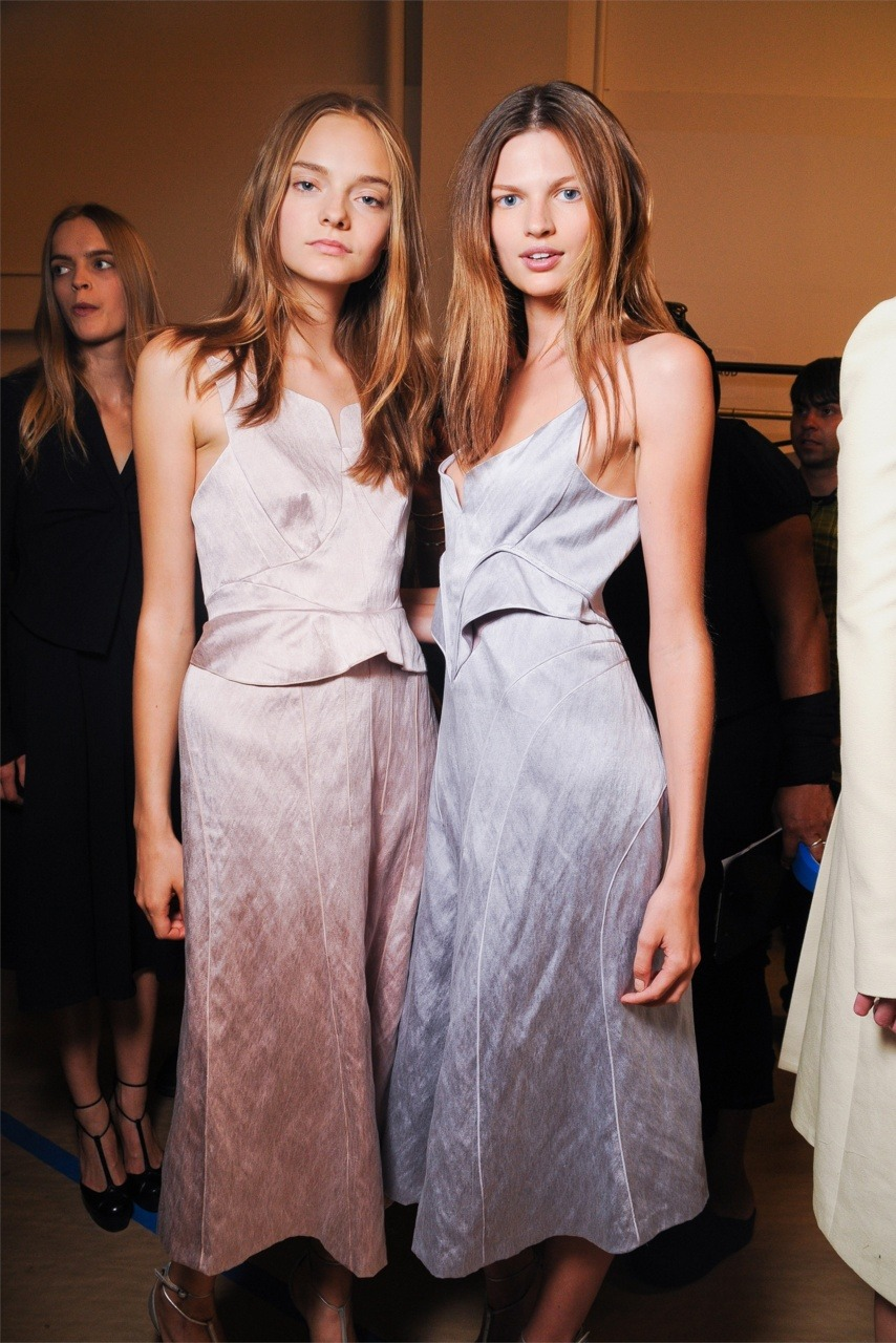 brunamuratori:  Nimue Smit and Bette Franke at Calvin Klein SS12 backstage