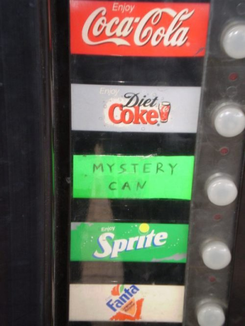 Mystery Can in Vending Machine How else are they going to get people to drink Mountain Dew LiveWire?