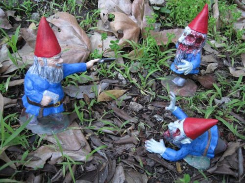 Gnome Shoots at Friends You don't gnome, man!