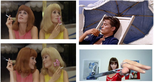 French new wave delights. Top/Bottom Left: Catherine Deneuve and Francoise Dorleac in Les Demoiselles de Rochefort (1967). Directed by Jacques Demy. Top Right: Alain Delon in Plein Soleil (1960). Directed by Rene Clement Bottom Right: Anna Karina in Pierrot Le Fou (1965). Directed by Jean-Luc Godard.