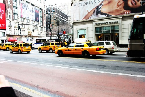 USA, New York. 2011. Yellow Cabs. A never ending sea of yellow cars that would rush by you. It was something quite amazing. Oh and is that a saucy little snap of the Victoria's Secret store?