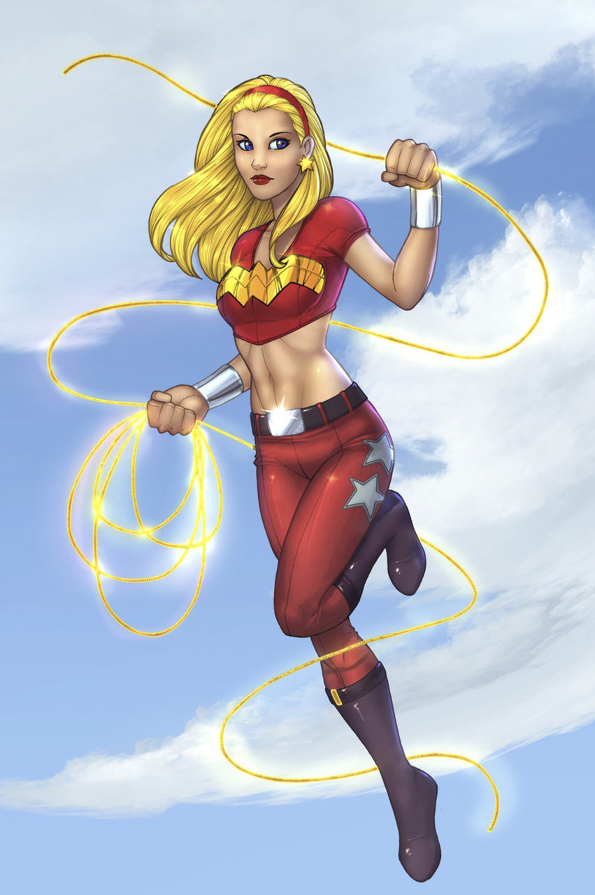 (via WonderGirl - Colored by =windriderx23 on deviantART)