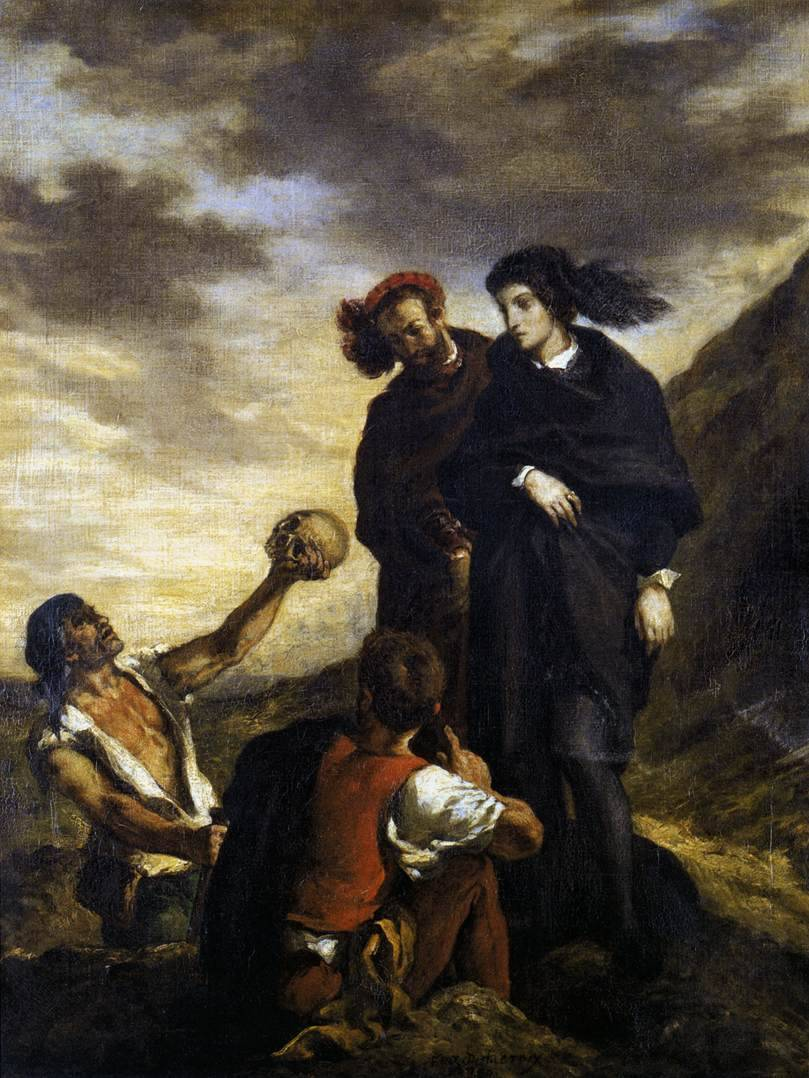 xtwitterpated:  Hamlet and Horatio in the Graveyard (1839), Eugene Delacroix.