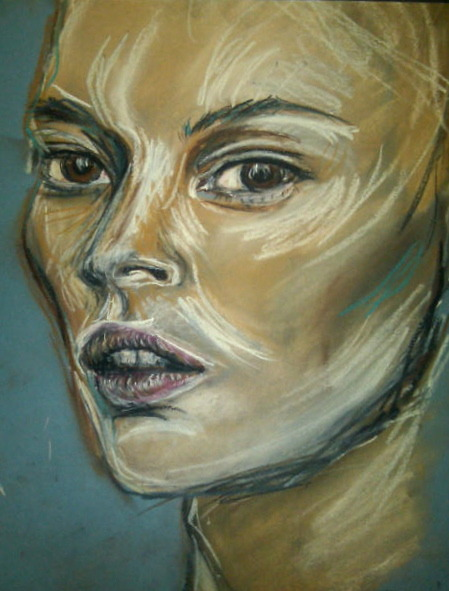 Kate — pastel, Anja Rubik Mesmerized by my old friend Anja's artwork.   PS: At long last, she is officially a'twitter @anjarubikblog!