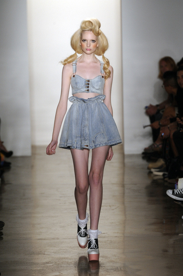 This is so cute! Love the hair and fake freckles as well! (via Jeremy Scott Makeup, New York Fashion Week S/S 2012)