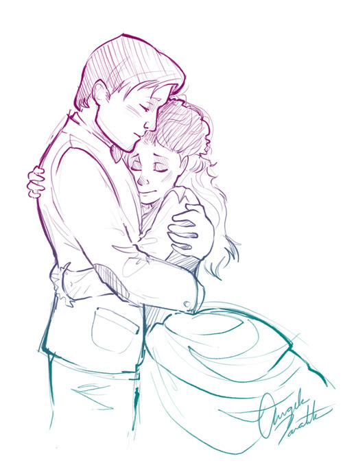 "cosmic-nerd-angel:   I sketched this awhile ago, after watching ""The Doctor's Wife"" and I stumbled across it today so I thought I'd post it anyway. During that entire episode I really wanted to see Idris/TARDIS/Sexy give the Doctor a hug. He definitely needed one. :("