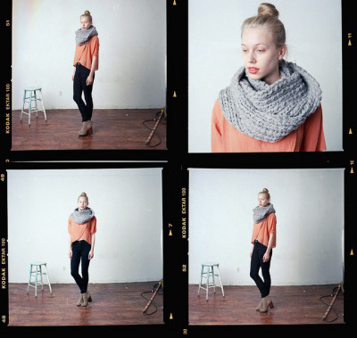 annaelsaa:  good night, dayaaah scarf, orange, boots, bun, lip color. so good