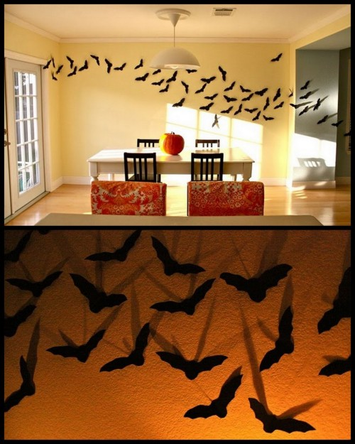 truebluemeandyou: DIY Swarm of Bats. Tutorial from Made here. Made of black card stock these bats look pretty tame during the day, but during the night with shadows - it kind of changes the atmosphere. Cheap and easy.