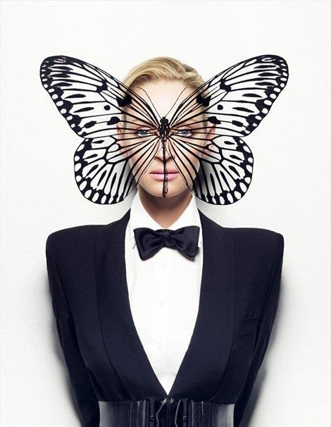 Uma Thurman in Monarch Programming-themed pic. The butterfly for Monarch Programming is right on the area of the cerebral cortex (memory, attention, perceptual awareness, thought, language, and consciousness). Her lack of limbs represent her powerlessness and her blank stare tells the rest of the story.