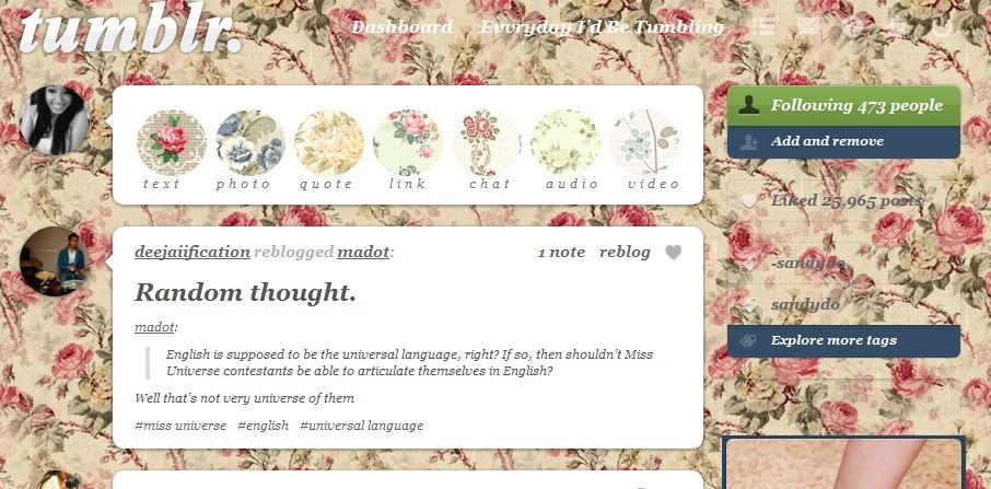 Ooh, my tumblr background is cuuurrrtt.