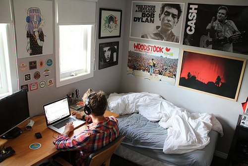 Not so much wanting the stuff in this room. But just to have a room like this. A room to myself so I can express myself freely. Putting up my own posters, having a desk right next to my bed. Just having a place to go where I can lock the world out. Just for some privacy. I've never had that experience. A room that belongs to me and only me. A room of my own. I've always shared my room.