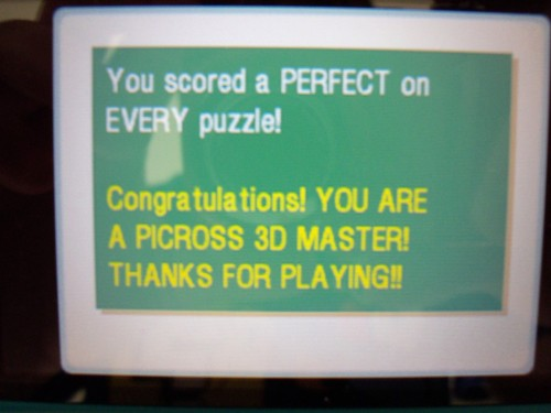 I completed Picross 3D.